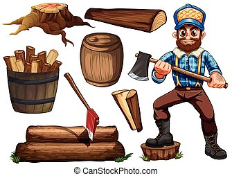 Lumberjack and firewood - Lumber jack holding axe and set of...