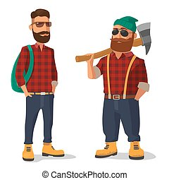 Lumberjack and hipster in the yellow shoes red plaid shirt -...
