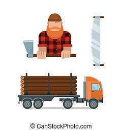 Lumberjack and truck icons vector illustration