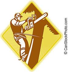 lumberjack arborist tree surgeon - Illustration of...