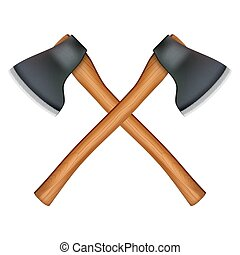 lumberjack axe - Crossed classic axes lumberjack. Vector...