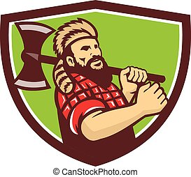 Lumberjack Axe Shield Retro - Illustration of lumberjack...