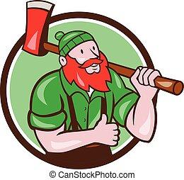 lumberjack, bunyan, の上, 円, 親指, おの, ポール, 漫画