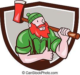 lumberjack, bunyan, の上, 親指, おの, ポール, 頂上, 漫画