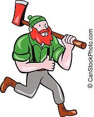 lumberjack, bunyan, 動くこと, おの, ポール, 漫画