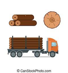 Lumberjack cartoon truck icons vector illustration