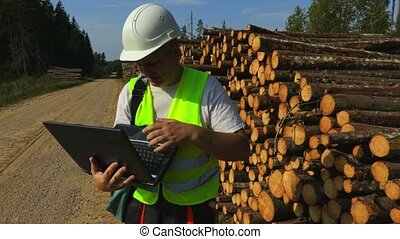 Lumberjack checking log pile