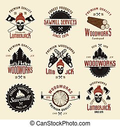 Lumberjack Colored Retro Style Emblems - Lumberjack colored...
