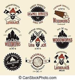 Lumberjack Colored Retro Style Emblems - Lumberjack colored...