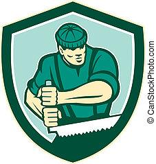 Lumberjack Crosscut Saw Shield Retro - Illustration of...