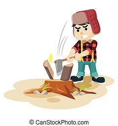 lumberjack cutting lumber