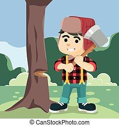 lumberjack cutting tree