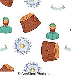 Lumberjack equipment pattern, cartoon style