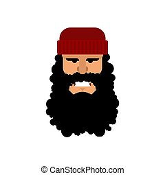 Lumberjack face. Woodcutter portrat. Head lumberman. Vector