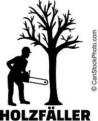 Lumberjack german job title with silhouette