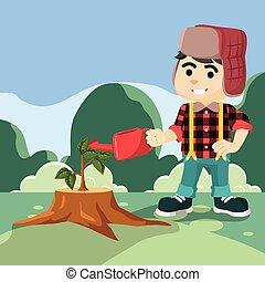 lumberjack grows sprout