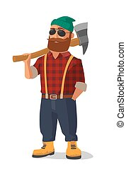 Lumberjack holding an axe over his shoulder.  Yellow shoes and red plaid shirt.