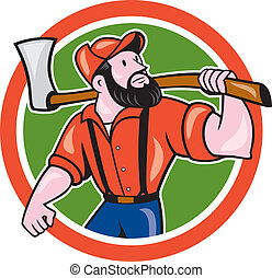 LumberJack Holding Axe Circle Cartoon - Illustration of a...