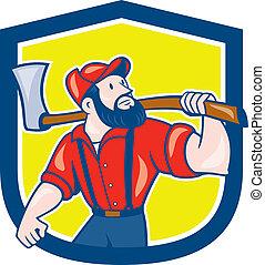 LumberJack Holding Axe Shield Cartoon