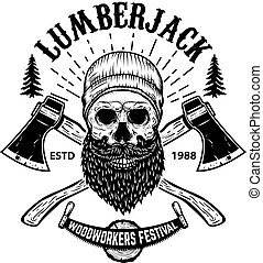 Lumberjack. Human skull with crossed hatchets in engraving style. Design element for logo, label, emblem, sign. Vector illustration