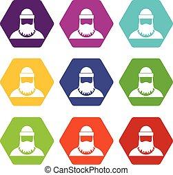 Lumberjack icon set color hexahedron