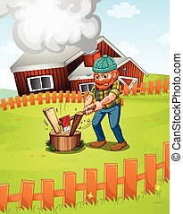 Lumberjack - Illustration of a lumber jack chopping wood