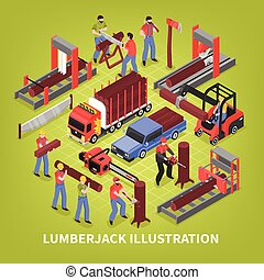 Lumberjack Isometric Vector Illustration