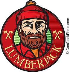 lumberjack label, lumber jack sign, forester symbol,...