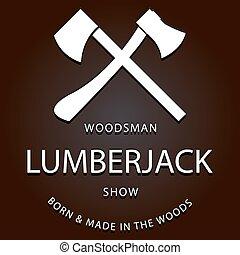 lumberjack logo label with axes