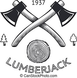 Lumberjack Logo Symbol Hatchet Axe Wood Rings Cut Tree Trunk...