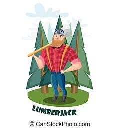 lumberjack, machado, floresta