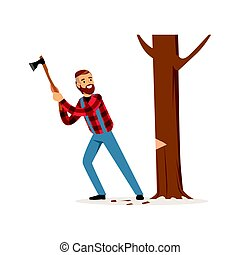 Lumberjack man in a red checkered shirt cutting tree with an axe colorful character vector Illustration