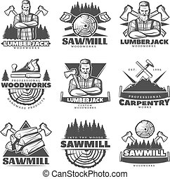 Lumberjack Monochrome Labels Set - Set of isolated vintage...