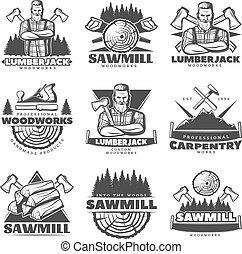 Lumberjack Monochrome Labels Set - Set of isolated vintage...