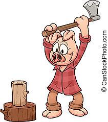 Lumberjack pig - Cartoon lumberjack pig. Vector clip art...