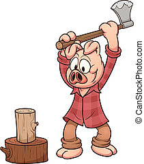Lumberjack pig chopping wood. Vector clip art illustration with simple gradients. All in a single layer.