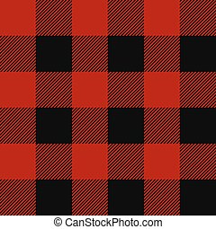 Lumberjack plaid pattern. Alternating red and black squares...