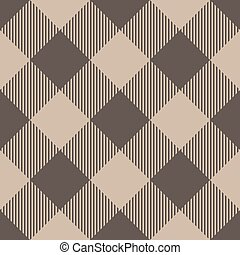 Lumberjack plaid pattern in beige color. Seamless vector pattern. Simple vintage textile design