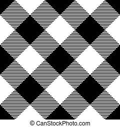 Lumberjack plaid pattern in black and white. Diagonal arrangement. Seamless vector pattern. Simple vintage textile design