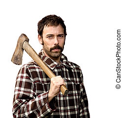 lumberjack portrait - portrait of a woodcutter isolated on...