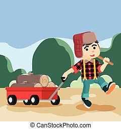 lumberjack pulling lumber