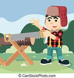 lumberjack sawing lumber