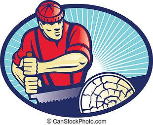 Lumberjack Sawyer With Cross-cut Saw - Illustration of...
