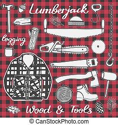 Lumberjack set, wood and tools. Hand-drawn cartoon logging stuff. Doodle drawing.