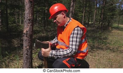Lumberjack sharpening ax in forest