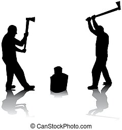 Lumberjack silhouettes over white background