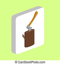 Lumberjack Simple vector icon. Illustration symbol design template for web mobile UI element. Perfect color isometric pictogram on 3d white square. Lumberjack icons for business project.