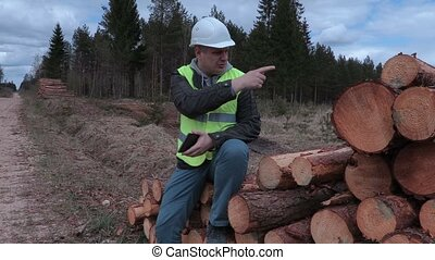 Lumberjack sitting on the log pile and talking