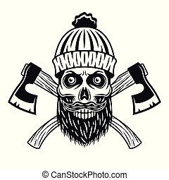Lumberjack skull in knitted hat with beard, axes