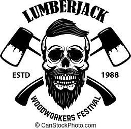 Lumberjack skull with crossed axes. Design element for emblem, sign, poster, t shirt.